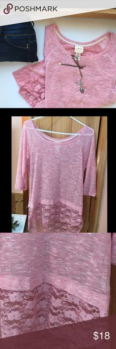 NWOT Size L flowy lace pink top Beautiful three quarter length sleeve top with scoop neck and flowery lace on bottom of shirt. Back is longer than the front. This shirt has never been worn. Self Esteem Tops