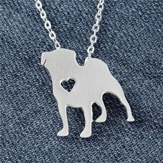 Pug Heart Silver Plated Necklace //Price: $11.90 & FREE Shipping //     #puglover #smilingpugs #puppylove