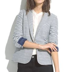 Madewell Striped Tailored Blazer A versatile blazer for a clean, classic, fun look. Nautical vibe! Blue/White stripes. Blue lining. Size 4. measurements can be provided upon request. never worn, tags attached. Negotiable, priced to drop! Madewell Jackets & Coats Blazers