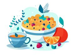 Breakfast designed by Svetlana Malysheva. Connect with them on Dribbble; Simple Illustration, Graphic Design Illustration, Beautiful Drawings, Cute Drawings, Affinity Designer, Photography Website, Food Illustrations, Food Art, Vector Art