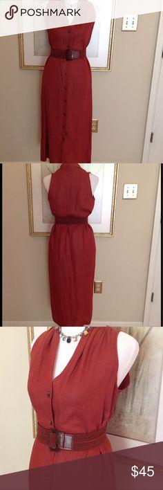 NEIMAN MARCUS Rust Dress Sleeveless 100% LINEN NEIMAN MARCUS DRESS size 10 SLEEVELESS 100% LINEN BEAUTIFUL Neiman Marcus Dresses