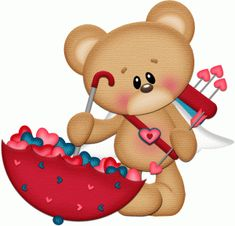 View Design #53712: cupid bear with umbrella of hearts pnc