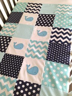 Moby Baby boy Whale Quilt..navy and aqua made by AlphabetMonkey. I like the idea of chevron stripes and polka dots and whales