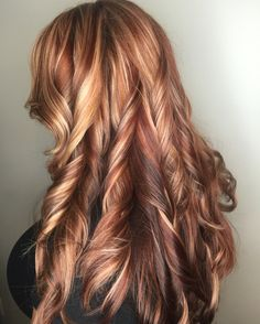 Blonde and red highlights copper lowlights red hair blonde hair color copper hair rich red with blonde @brandybstylist on Instagram
