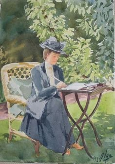 """A portrait of the Dowager Empress Marie Feodorovna of Russia in 1923 at Hvidøre,painted by her daughter,Grand Duchess Olga Alexandrovna Romanova of Russia. """"AL"""""""