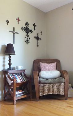 Maybe something like this for the back room? a couple of the chairs, a bookshelf, and some fabulous pictures of Jesus and Our Lady?