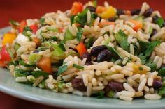 Recipe for Black Bean, Rice, and Cilantro Salad [from Kalyn's Kitchen] #SouthBeachDiet #lowglycemic #glutenfree