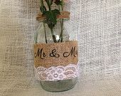 Large Ball mason jar centerpiece  Mr & Mrs Medium burlap white lace Add your last name and/or date for no additional cost *bulk available, ask about our event pricing!
