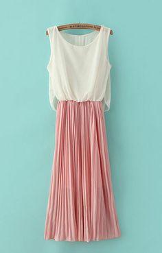 Color Block Pleating Hem Sleeveless Sweet Chiffon Dress