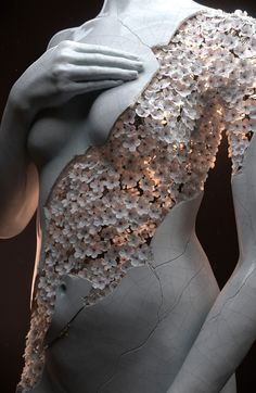 French 3D artist Jean-Michel Bihorel in his latest works, he has produced two digital sculptures of the female form composed of a sample of dry flowers. The body is completely shaped from the floral sample, the woman shown in different poses that demonstrate her whole form.