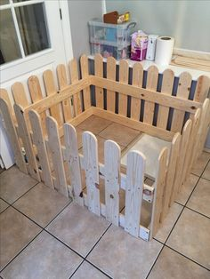 wooden puppy dog pen made from old pallets