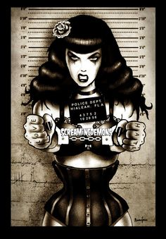 Bettie Page Art Print by Marcus Jones 115 x 8 by TheGothabillyShop, $10.00