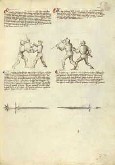Combat with Sword Artist/Maker(s): Fiore Furlan dei Liberi da Premariacco, author [Italian, about 1340/1350 - before 1450] Date: about 1410 Medium: Tempera colors, gold leaf, silver leaf, and ink on parchment Dimensions: Leaf: 27.9 x 20.6 cm (11 x 8 1/8 in.) Object Number: 83.MR.183.35 Department: Manuscripts
