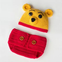 Learn how to create this adorable Winnie The Pooh hat and diaper cover set! Free pattern available!