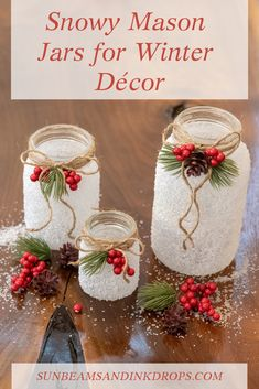 This unique crafting project uses Epsom salts to give a snowy look to your mason jars and can be customized for winter, Valentine's Day or any other holiday! Dollar Store Christmas, Christmas Mason Jars, Christmas Crafts, Christmas Ornaments, Christmas Wedding, Christmas Holiday, Christmas Table Centerpieces, Mason Jar Centerpieces, Xmas Decorations