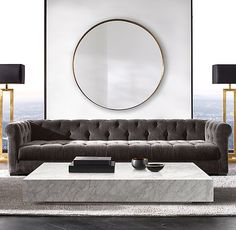 RH Modern's Modena Chesterfield Fabric Sofa - Love the fabric, color and tufting of the sofa. Beautiful coffe table.