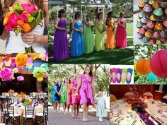 Multi-color wedding theme. i like this idea for decorations but bouquets, bridesmaids and groomsmen can waar green and blue
