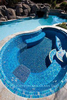 - Lightstreams Custom Glass Pool Tile C Backyard Pool Designs, Pool Landscaping, Glass Pool Tile, Swimming Pool Tiles, Pool Remodel, Small Pools, Dream Pools, Pool Decks, Pool Houses