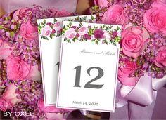 Printable Wedding table number card template pink roses floral motif by Oxee, DIY, Editable in Word, $5.00