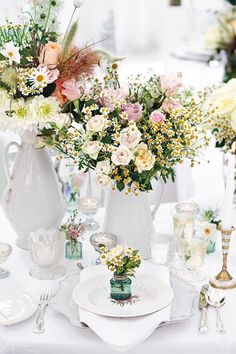 Recreate your floral centrepieces on a micro scale! The mini vases double up as adorable favours for guests to keep, as seen on BridesMagazine.co.uk (BridesMagazine.co.uk)