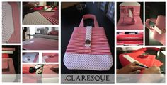 Red & White striped handbag with wood button and pokerdot. 31 different pieces and 8 hours of craftmanship later, this stunning handbag is born...