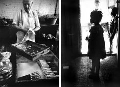 A Butler Prepares Silver For A Debutante Party, London, 1966 (left),  A Migrant Potato Picker's Child On Her First Day Of School. Long Island, New York, 1951 (right).  Eve Arnold
