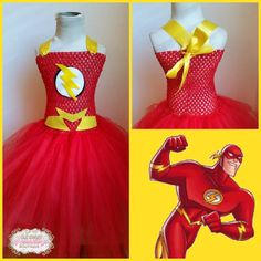 The Flash Super Hero Inspired Tutu Dress Costume Infant to Girls by OurSweetSomethings4U on Etsy https://www.etsy.com/listing/213796887/the-flash-super-hero-inspired-tutu-dress