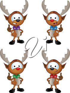 iCLIPART - Clip Art Illustration of Four Christmas Reindeer