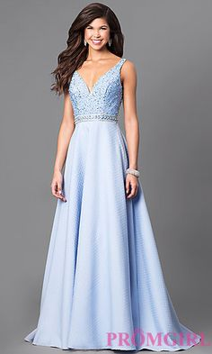 V-Neck Long Prom Dress with Embellished Bodice at PromGirl.com