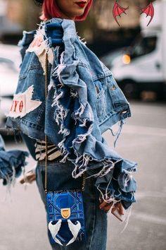 Denim On Denim Denim On Denim - Flawless Street Style Snaps From Paris Fashion Week, Fall 2018 - Photos<br> Denim On Denim - Distressed Denim, Fashion Week Paris, Denim Fashion, Fashion Outfits, Fashion Trends, Fashion Fashion, Denim Outfits, Woman Outfits, Trendy Outfits