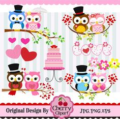Wedding Owls,Wedding Digital Clip Art Set-Bride and Groom owls-Personal and Commercial Use