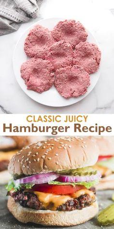 Juicy Hamburger Recipe, Hamburger Seasoning Recipe, Hamburger Meat Recipes Easy, Seasoning For Hamburgers, Easy Burger Recipes, Hamburger Patties Recipe, Ground Beef Burger Recipe, Grilled Hamburgers, Perfect Hamburger