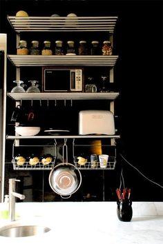 Black wall and kitchen storage #black #paint #kitchen