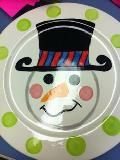 Personalized hand painted ceramic snowman plate