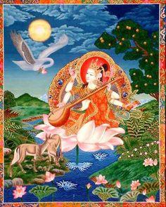 Saraswati Jai Maa Saraswati, Saraswati Vandana, Tara Goddess, Sacred Feminine, Embroidery Motifs, Lord Shiva, Archetypes, Indian Art, Deities