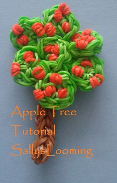 This is my tutorial for my apple tree design. Not too tricky and all on one loom! Crazy Loom Bracelets, Loom Bracelet Patterns, Rainbow Loom Bracelets, Rubber Bracelets, Rainbow Loom Patterns, Rainbow Loom Creations, Cute Crafts, Crafts For Kids, Loom Band Charms