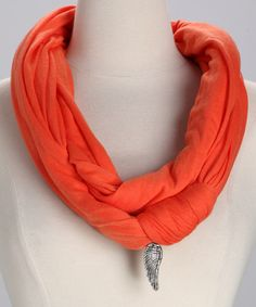 Orange & Silver Wing Charm Forever Infinity Scarf