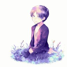 Child!Eren || I love the colouring the artist did on this. Esp the grass he made into blue and purple. Credits to artist.