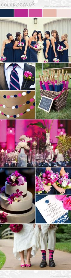 Vibrant fuchsia paired with subtle navy tones make the perfect color combo for a lively summer wedding.
