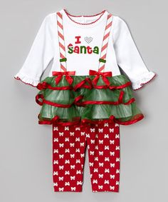 Look what I found on #zulily! Youngland Red & Green 'I LoveSanta' Tunic & Leggings - Infant by Youngland #zulilyfinds