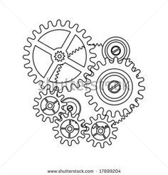 clock gear shape blueprint outline by sgame, via Shutterstock