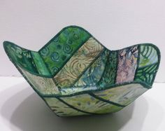 Reversible Fabric Bowl in Green Batik Fabrics by Sieberdesigns