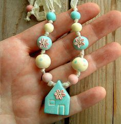 Flower House Beaded Necklace by ZudaGay, via Flickr