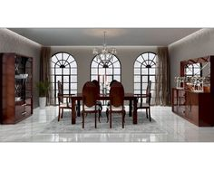 Dining Room Ceramic Tiles Cherry Dining Set Chandelier Curio Cabinet Candle Holder Flower Pot Side Board Accent Mirror Desk Lamp Grey Carpet Glass Window Brown Curtain Must-Have Dining Room Equipment