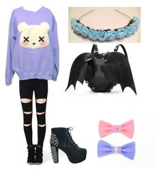 """""""pastel goth"""" by creepyandpastelcute ❤ liked on Polyvore featuring Jeffrey Campbell, women's clothing, women's fashion, women, female, woman, misses and juniors"""