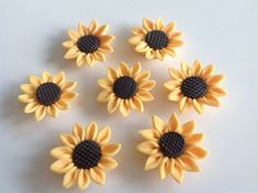 Beautiful lifelike Fimo Polymer Clay Yellow Sunflower Beads with Brown Center for Crafts and Jewelry Making. 30 mm Yellow Sunflower Charms are made of FIMO Polymer Clay for Craft and Jewelry Making. These Sunflower Beads are Side Drilled across the B Sculpey Clay, Polymer Clay Magnet, Clay Magnets, Polymer Beads, Polymer Clay Flowers, Polymer Clay Charms, Polymer Clay Projects, Diy Clay, Clay Beads