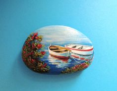 Painted stone landscapes with two fishing boats Is Painted