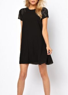 Hot Sale Solid Black Short Sleeve Woman Dress with Lace