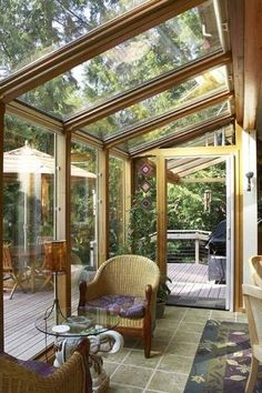 Gallery of beautiful sunroom ideas. A sunroom addition to your home is similar to a mix of a backyard patio and living room. The best sunroom designs bring the outside in and allow you to enjoy the outdoor feel anytime of year. Patio Interior, Interior Exterior, Grey Exterior, Exterior Design, Outdoor Rooms, Outdoor Living, Outdoor Seating, Indoor Outdoor, Small Sunroom