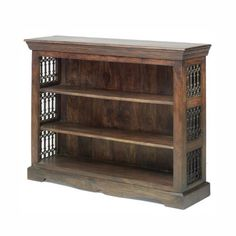 Jali Sheesham Low Bookcase - Indian Wood Furniture W 130cm H 100cm D 38cm